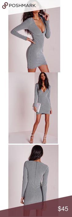 NWT Missguided bodycon dress BRAND NEW, never worn, with tags, silver bodycon dress Missguided Dresses Midi