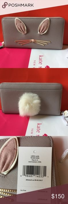 """NWT KATE SPADE RABBIT NEDA HOP TO IT WALLET 100% authentic, brand new with tags 