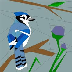 Free Quilt Pattern: April BOM – Into the Wild – Bluejay