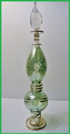 Vintage EGYPTIAN Hand Blown Glass Perfume Bottle by IsisJeweler