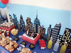 #candybar #spiderman para 30 niños de 5 años. Mesa #salada para la merienda de los niños.