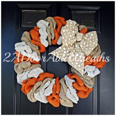 Burlap Wreath with multiple colors and large by 2ADoorAbleWreaths, $65.00
