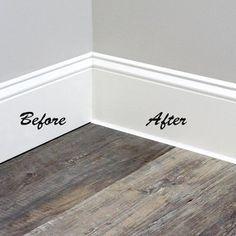 White Baseboards, Baseboard Trim, Baseboard Ideas, Caulk Baseboards, Baseboard Styles, Bathroom Baseboard, Modern Baseboards, Drywall, Bathroom Wall