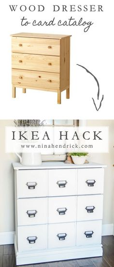 DIY Wood Dresser Card Catalog IKEA Hack Tutorial   See how you can easily and inexpensively get the look of an antique card catalog with this Wood Dresser Card Catalog IKEA Hack Tutorial. #farmhouse #farmhousedecor #modernfarmhouse #bedroom #dresser