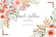 Card template with peach and golden flowers and leaves Free Vector Floral frame with most beautiful colors Pink And White Background, Gold Glitter Background, Glitter Frame, Vintage Grunge, Floral Vintage, Watercolor Cards, Watercolor Background, Watercolor Flowers, Flower Backgrounds