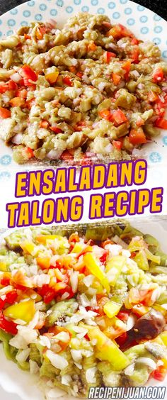This Ensaladang Talong Recipe or Eggplant Salad is made with three ingredients: eggplant, onion and tomatoes, a perfect and healthy recipe for everyone. Filipino Dishes, Filipino Recipes, Asian Recipes, Healthy Recipes, Filipino Food, Fruit Salad Recipes, Appetizer Recipes, Vegetable Salad, Vegetable Recipes