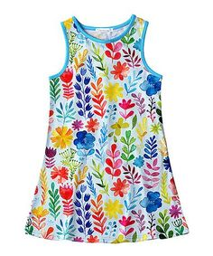 This Blue Watercolor Floral & Leaf Tank Dress - Toddler & Girls is perfect! #zulilyfinds