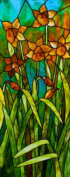 Daffodil Day Stained Glass Panel, made with Youghiogheny Art Glass,  © David Kennedy 2014