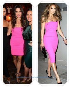 Un vestido rosa de Roland Mouret lo llevo, más corto, Sandra Bullock a los Spike TV Guys Choice Awards; después se lo vimos a Jennifer Lopez en la fiesta de presentación de su nuevo disco.