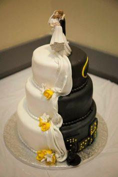 Half batman half traditional wedding cake