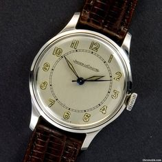 Jaeger-LeCoultre ad: $1,458 Jaeger-LeCoultre Rare Cal.478 / Steel / 33.5 mm / Mint / 1947 Ref. No. n/a; Steel; Manual winding; Condition 1 (mint); Year 1947; Location: Germany, München