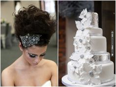 industrial chic silver sparkly cake, headpiece and eye make up! Styling by  Photo by | CHECK OUT MORE IDEAS AT WEDDINGPINS.NET | #weddings #weddingcakes #cakes #events #forweddings #ilovecake #romance #baking