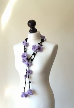 Flower Scarf Lilac Necklace Crochet Necklace Lariat by ReddApple