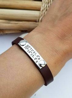 Men's Coordinates Bracelet  Leather Bracelet for Him