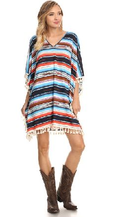Serape Tassel Poncho Dress