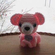 Teddy Bear Love Inkie Amigurumi Baby Pink with Purple Tummy Heart | WearableArtHuggableFriends - Toys on ArtFire