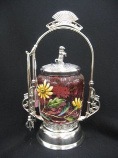 Enameled cranberry to clear glass insert w/floral decoration on wavy thumbprint design, fancy silverplate holder lid w/begging dog finial, Victorian Bride, Sweet Jars, Brides Basket, Condiment Sets, Pickle Jars, Antique Auctions, Furniture Styles, Vintage Glassware, Mason Jars