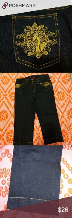 Baby Phat Jean Capris For years, these were my go-to jeans! I had them in every denim wash 😄 Bought this pair at Macy's in Florida and never wore them (too small for me by the time I got around to wearing them). I promise you they'll be the most flattering pair of capris you ever put on!!! Love the gold embroidery and accents!! ❤️❤️ Baby Phat Jeans Ankle & Cropped