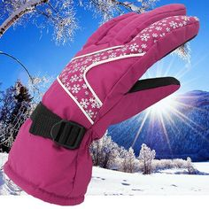 Thickened Warm Waterproof WindProof Anti-Cold Women Skiing Gloves Black Purple Cycling Gloves Snowboard Ski Gloves Winter luva