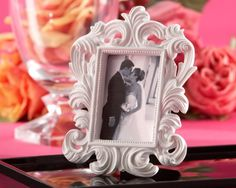 White Baroque Elegant Place Card Holder Photo Frame