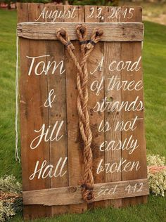 FREE SHIPPING!!! A Cord of Three Strands is Not Easily Broken Eccl 4:12 Wedding Unity Sign  This is a rustic sign to be used and/or displayed during your