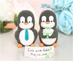 Penguin wedding cake toppers  funny elegant cute by PassionArte