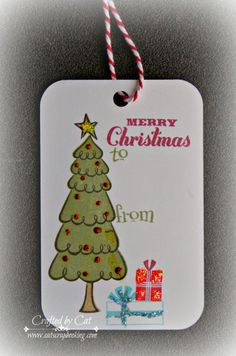 Merry Chrstmas Gift Tag ~ White Pines Card Workshop ~ CatScrapbooking.com