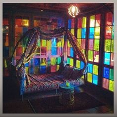 Love the colored glass walls. Future House, My House, Stained Glass Windows, Leaded Glass, My New Room, Bohemian Decor, Gypsy Decor, Colorful Decor, Architecture