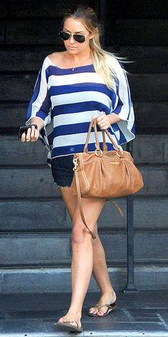 jean shorts, aviator sunglasses, striped shirt, flip flops and brown purse