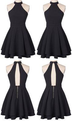 Cute Black Homecoming Dress,Halter Mini Short Prom Dress on Luulla Source by maiciedanii Dresses short Hoco Dresses, Pretty Dresses, Homecoming Dresses, Casual Dresses, Fashion Dresses, Luulla Dresses, Dress Prom, Chiffon Dress, Halter Dress Short