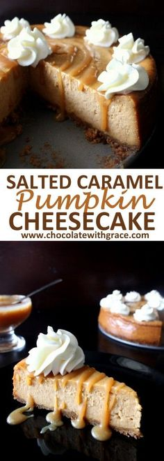 Salted Caramel Pumpkin Cheesecake makes a classy Thanksgiving and Christmas dessert recipe. Autumn Cheesecake Recipes, Recipe For Pumpkin Cheesecake, Pumpkin Cheesecake Gingersnap Crust, Pumpkin Baking Recipes, Christmas Cheesecake, Pumpkin Cheescake, Pumpkin Fudge, Pumpkin Dessert, Oreo Dessert