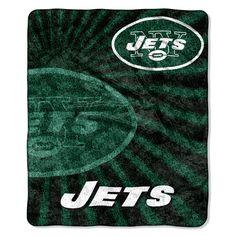 New York Jets Blanket - 50x60 Sherpa - Strobe Design (backorder)