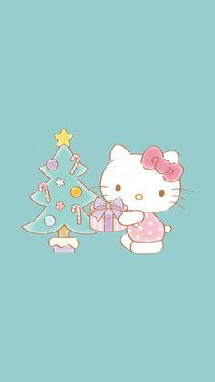 Sanrio Wallpaper, Hello Kitty Wallpaper, Kawaii Wallpaper, Cute Wallpaper Backgrounds, Cute Wallpapers, Iphone Wallpaper, Hello Kitty Christmas Tree, Christmas Tree With Gifts, Christmas Cards