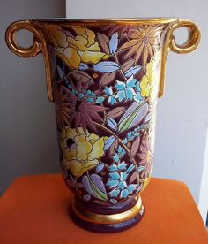 ART NOUVEAU Boch Freres Keramis Flower Design Vase by Charles Catteau ca 1908 #ArtNouveau #BochFreresKeramis