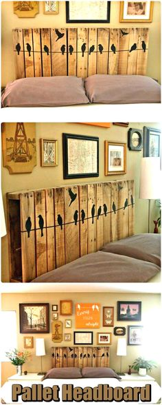 150 Best & Free DIY Pallet Projects & Furniture Ideas Wooden Pallet Headboard with Bird Art – 150 Best DIY Pallet Projects and Pallet Furniture Crafts – Page 56 of 75 – DIY & Crafts Pallet Patio Furniture, Furniture Plans, Rustic Furniture, Cool Furniture, Furniture Stores, Furniture Outlet, Bedroom Furniture, Furniture Companies, Discount Furniture