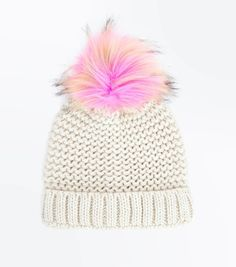 9b5cdfdd440da6 PInk Faux Fur Pom Pom Knitted Hat | New Look Pink Faux Fur, Faux Fur