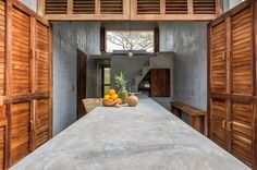 Casa Tiny Airbnb Oaxaca Mexico Indoor-Outdoor Concrete Table, Architect Aranza de Ariño, Camila Cossio Photo