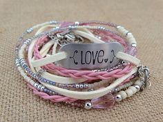 Hand Stamped Love Multi Strand Leather Wrap. by AllStrungOut925