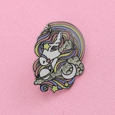 Super cute Rainbow Unicorn in hard enamel with lots of glitter. A must for any Unicorn lover! Measurements approx 32mm