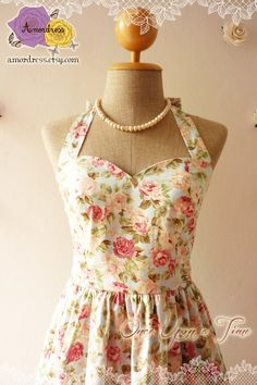 FLORAL DRESS summer dress Vintage style Dress romantic blue