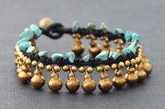 Water Drop Turquoise Brass Bracelet by XtraVirgin on Etsy, $9.00