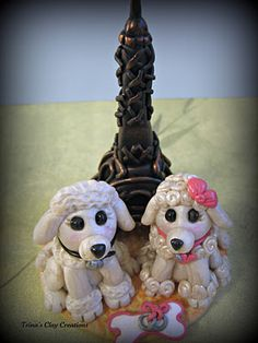 polymer clay Two Poodles and the Eiffel Tower ~ Trina's Clay Creations