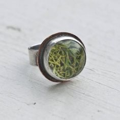 Sterling 15 mm Moss Terrarium Ring with Copper #ring #jewellery