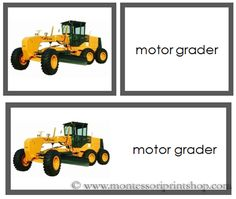 Construction Vehicles - words and picture cards - printable Montessori cards for Montessori Learning at home and school.