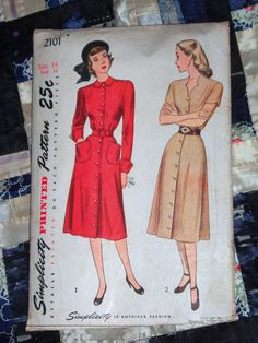 1947 Simplicity Pattern 2101 Womens Dress Size 14 by lakeviewarts, $8.00