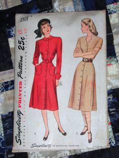 1947 Simplicity Pattern 2101 Womens Dress Size 14 by lakeviewarts, $8.00