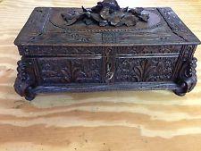 Black Forest Floral Carved Wood Box w/ Key