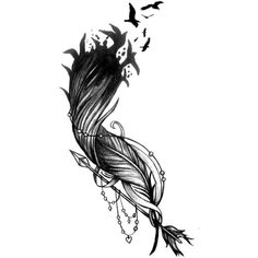 Feather Flock Arrow Tattoo Design ❤ liked on Polyvore featuring home, home decor, arrow home decor and bird home decor
