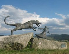 The Beast of Gévaudan was the name given to the man-eating wolves or wolf-like animals which terrorized the former province of Gévaudan (modern-day département of Lozère and part of Haute-Loire), in the Margeride Mountains in south-central France between 1764 and 1767. The attacks, which covered an area stretching , were said to have been committed by a large beast that had formidable teeth. This statue of the woman driving the beast away is in the village of Auvers