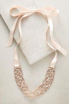 Slide View: 1: Rose Ribbon Choker Necklace
